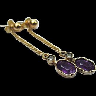 Antique Amethyst and Diamond 18k & 9k Gold Drop Earrings