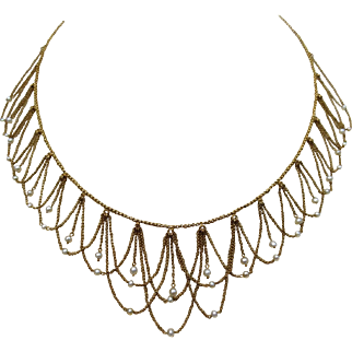 Exceptional Etruscan Revival Victorian 18k Gold Festooned Pearl Wedding Necklace