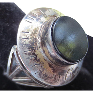 Unique Large Statement Silver Vintage Mourning Ring