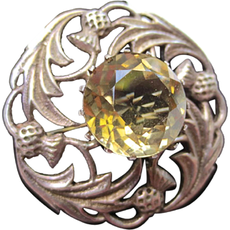 Vintage Scottish Sterling Silver Thistle Flower Citrine Brooch