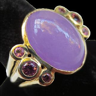 Lavender Jade & Tourmaline 14k Gold Cocktail Ring