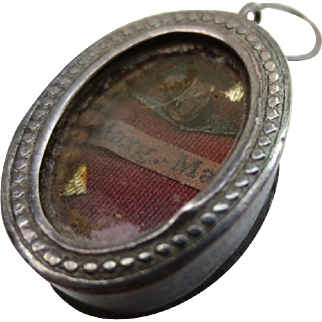 Antique Silver Catholic Relic Pendant Reliquary St Margaret Mary Alacoque Charm