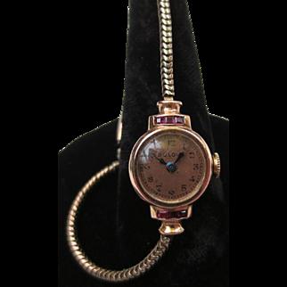 Vintage 1940's 14k Rose Gold & Rubies Ladies Bulova Wristwatch