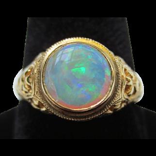 Beautiful 18k Gold Opal Filigree Vintage Gothic Ring Baskin Brothers New York