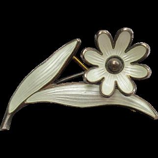 Mid Century Danish Sterling Silver Enamel Flower Brooch Signed