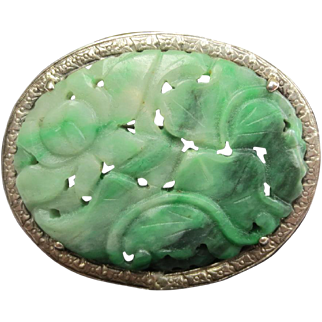 Antique Chinese Carved Jadeite Jade Flower Silver Brooch