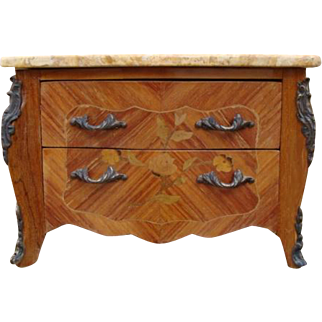 Miniature French Louis XV Style Commode with two drawers and marble top.