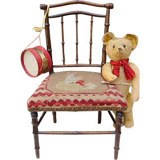 Nice antique doll or bear chair.