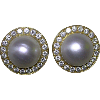 Cultured Mabe Pearl and Diamond Earrings