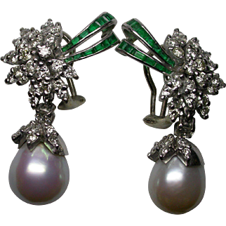Drop Style Diamond, Cultured Pearl and Emerald Earrings