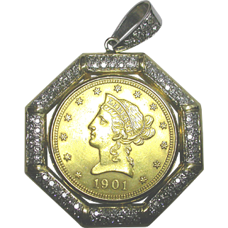 1901 Gold Coin in 14K Pendant
