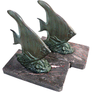 French Art Deco Marble Fish Bookends