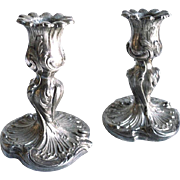 19th Century Pair of Ornate French Rococo Chamberstick