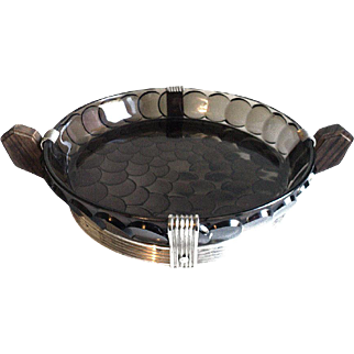 French Art Deco Smoky Fruit Bowl