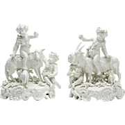 Pair Antique Vienna Blanc De Chine Figure Groups 19th C.
