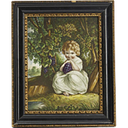 Fine Antique Derby Child With Grapes Framed Tile 19th C.