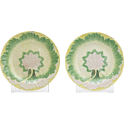 Pair Antique Wedgwood Majolica Leaf Plates C.1860