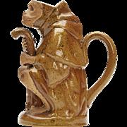 Salt Glazed Seated Monkey Teapot 19th C.