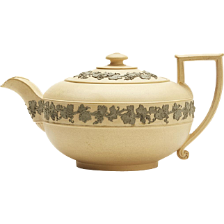 Antique Wedgwood Caneware Fruiting Vine Teapot Early 19th C