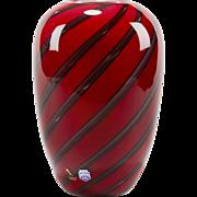 Italian Murano Gino Cenedese Signed Red Art Glass Vase