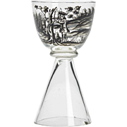 Josef Lenhardt Steinschonau Stag Hunt Glass 19/20th C