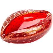 Vintage Murano Lips Red Glass Bowl Stefano Toso C.1970