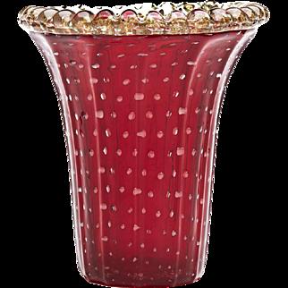 Murano Flared Glass Vase By Pino Signoretto C.1970