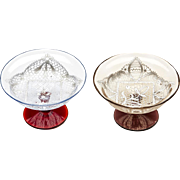 Pair Antique Venetian Salviati Lacework Glasses C.1890