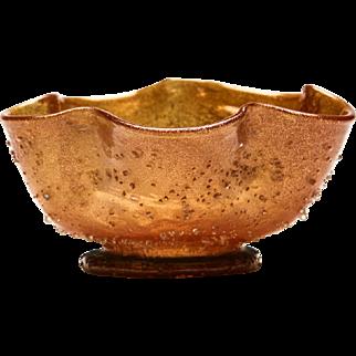 Fine Antique Antonio Salviati Aventurine Glass Bowl C.1900