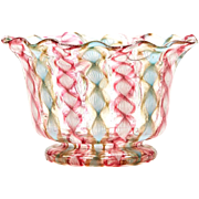Antique Venetian Ribbon Glass Bowl 19th C.