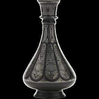 Antique Indian Silver Inlaid Floral Bidriware Vase 19th C.