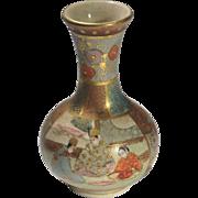 Japanese Satsuma Meiji Vase Depressed Baluster Shape