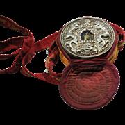 Antique Tibetan Prayer Box or Icon with Symbols, Prayer Inside, Cloth Case