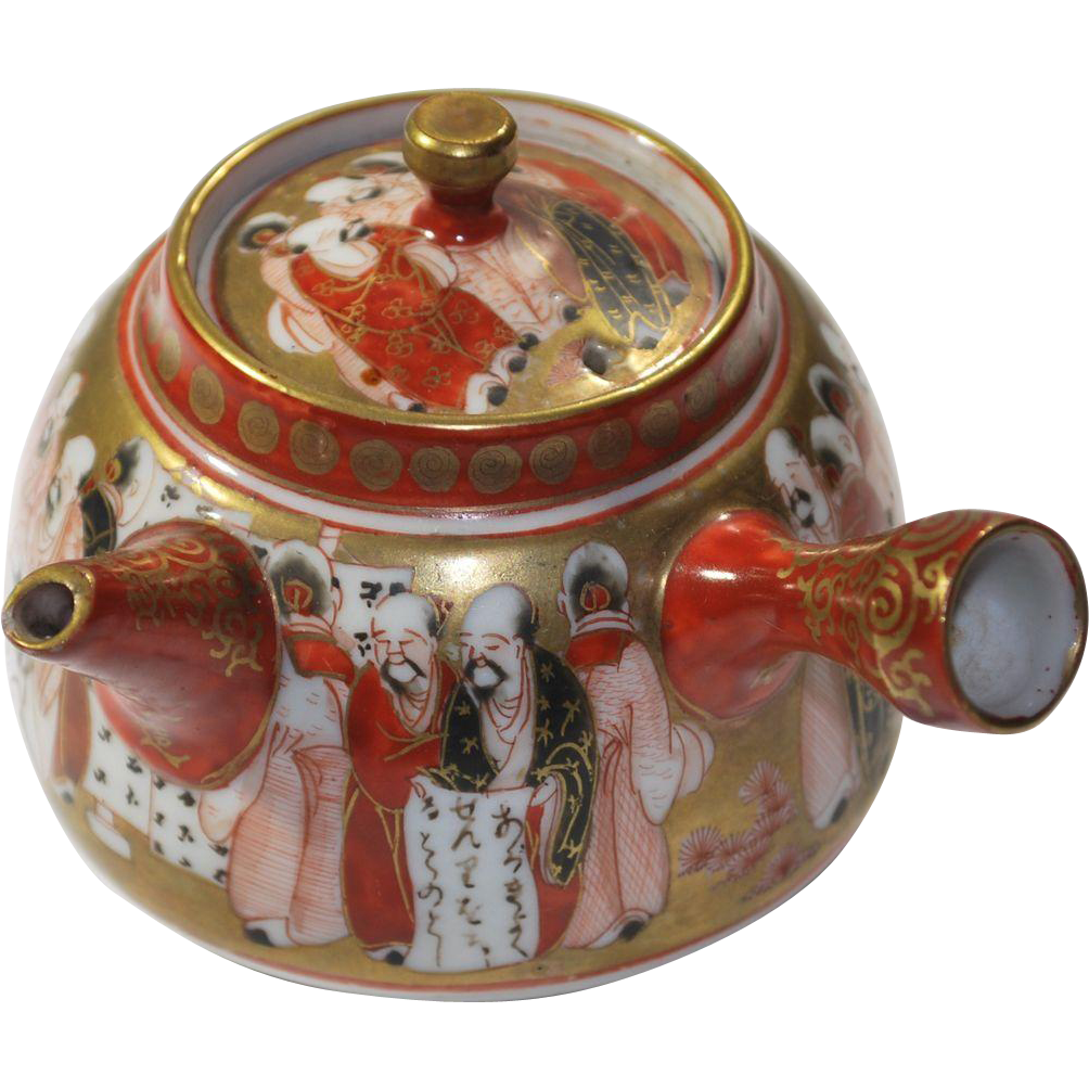 Antique Japanese Teapot Painted With Immortals In Kutani
