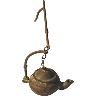 Early Bronze Oil Lamp with Hanging Hook, 1700's-1800's