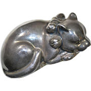 Russian Silver Sleeping Cat with Bells, Dated 1892
