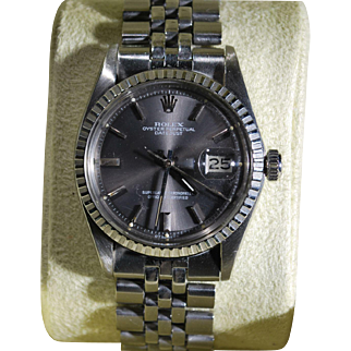 Men's Rolex Oyster Perpetual Datejust Rare Luminescent Grey Dial