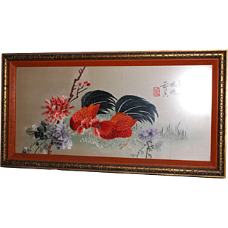 Signed and Framed Antique Chinese Embroidery of Chickens