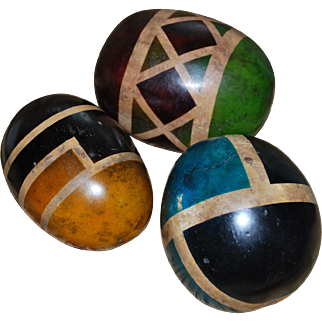 Three Painted Gourds with Geometric Designs