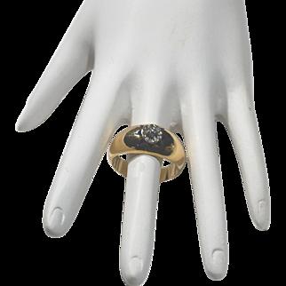 Antique 18 karat Gold and Diamond Ring with Blue Enamel