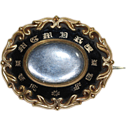 Victorian Mourning Brooch in Gold Fill with Black Enamel