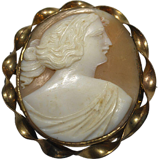 Gold Filled Carved Shell Cameo with Greecian Motif