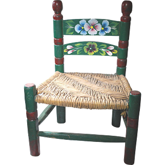 Rush Seat Doll's Chair Painted with Pansies