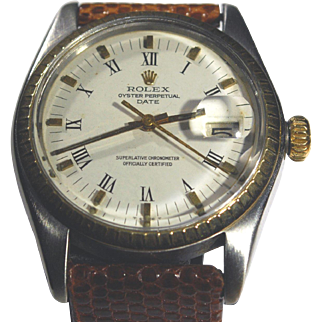 Men's Rolex 1505 Vintage Stainless and 14kt Gold Oyster Perpetual Date with Roman Numeral White Dial