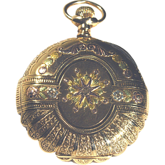 Elgin Antique Pocket Watch 14K Tri-Color Gold Hunter 16 Size