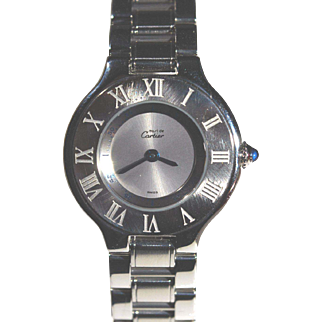 Must de Cartier Ladies Stainless Watch with Matching Deployant Clasp Band
