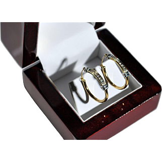 10 karat Yellow and White Gold Earrings with Diamonds