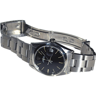 Rolex 6694 Men's Stainless Steel OysterDate Precision with Striking Black Dial