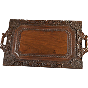 Antique Anglo Indian Wood Butlers Tray Early 20th Century