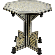 Large Mother Of Pearl Inlaid Syrian Table 19th Century
